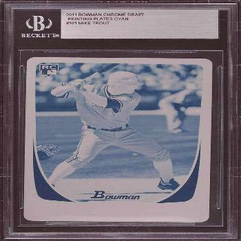 2011 Bowman Mike Trout RC Cyan Printing Plate 1/1 BGS Rookie Angels  - Ideas of Mike Trout