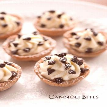 Cannoli bites: Cannoli dough is baked in mini muffin tins then filled with a lucious mascarpone/ric