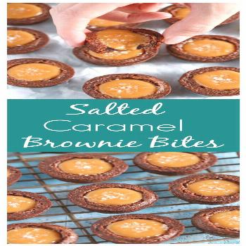 Homemade fudgy brownie bites filled with an easy two-ingredient caramel filling and topped off with