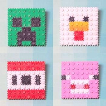 ?Minecraft Pixel Art! ? Can you name these characters? . Build your own tiles at home using a