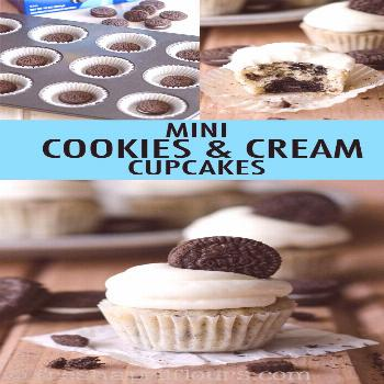 Mini Cookies & Cream Cupcakes Mini vanilla cupcakes filled with crushed Oreos, and topped with crea