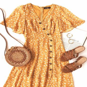 The Lulus After-Bloom Delight Golden Yellow Floral Print Midi Dress was made for mid-day strolls in
