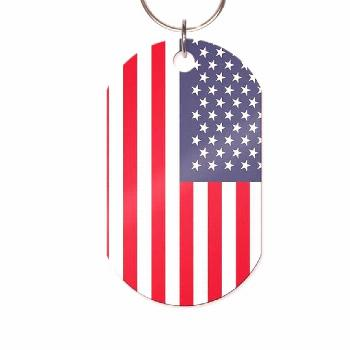 USA Flag Military Dog Tag Keychain or Necklace by pblast
