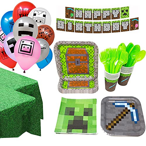Minecraft Ultimate Party Supplies Pack (130+ Pieces for 16