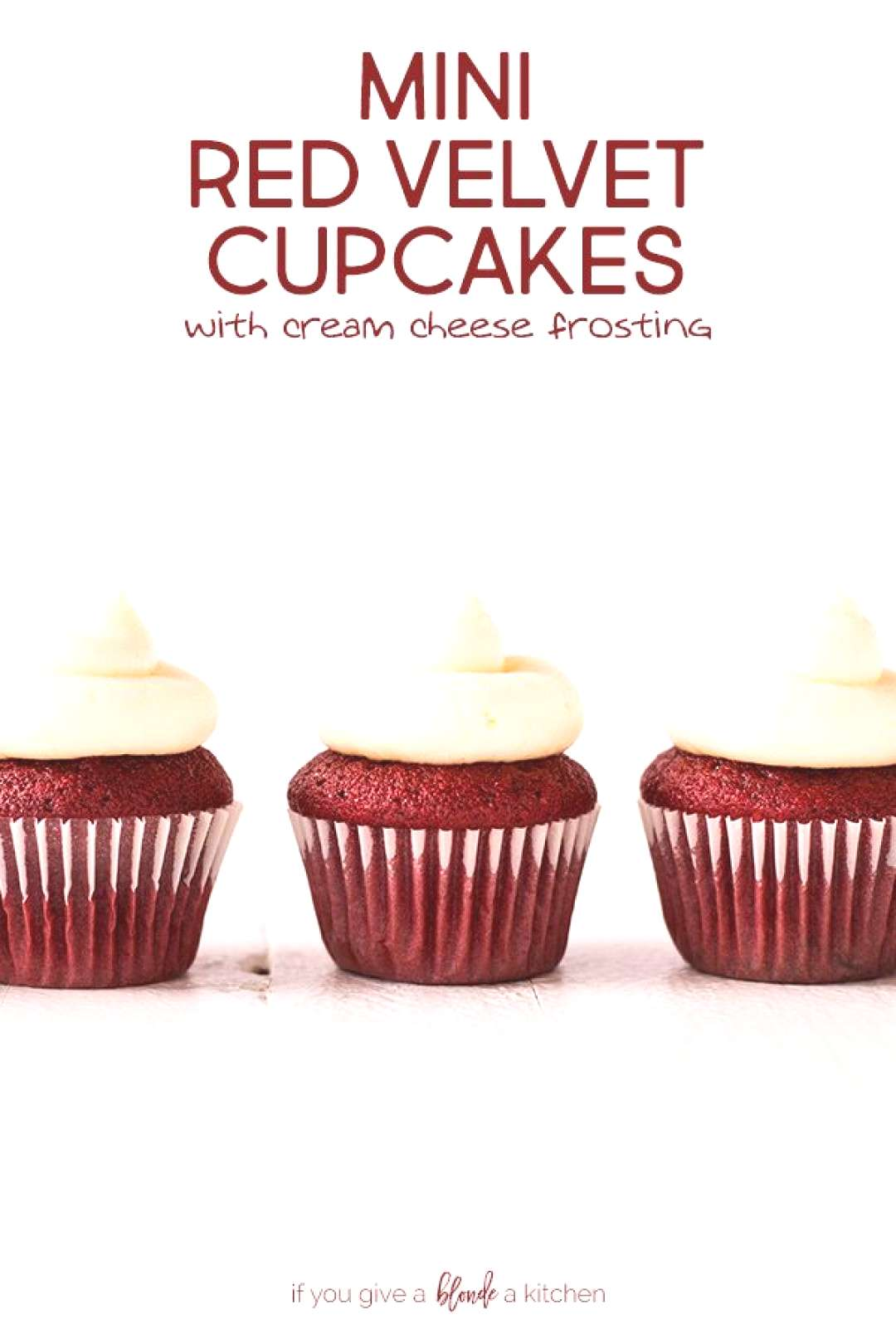 Mini red velvet cupcakes are bite-sized cupcakes topped with rich cream cheese frosting. Use butter