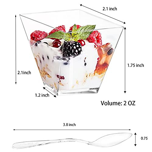 TOPZEA 100 Pack 2 Oz Mini Dessert Cups with Spoons, Clear